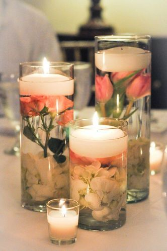 Glass jar floating candle